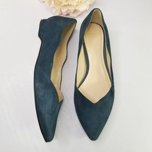 Cole Haan grand.os scallop suede pointed toe flats